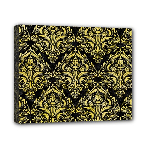 Damask1 Black Marble & Yellow Watercolor (r) Canvas 10  X 8