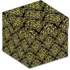 Damask1 Black Marble & Yellow Watercolor (r) Storage Stool 12