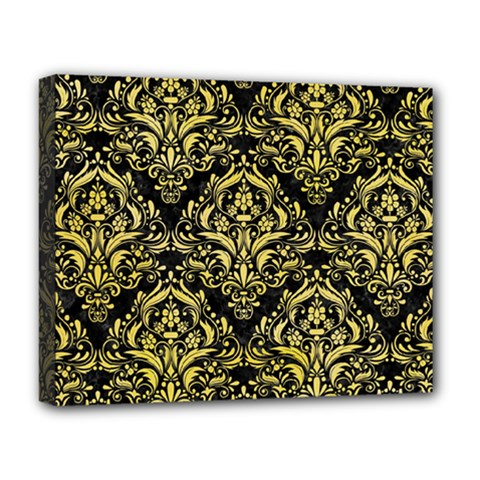 Damask1 Black Marble & Yellow Watercolor (r) Deluxe Canvas 20  X 16