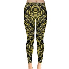 Damask1 Black Marble & Yellow Watercolor (r) Leggings