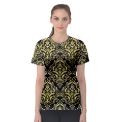 Damask1 Black Marble & Yellow Watercolor (r) Women s Sport Mesh Tee