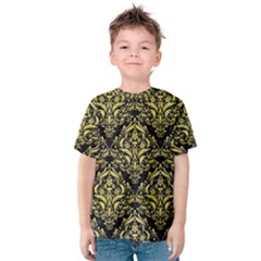 Damask1 Black Marble & Yellow Watercolor (r) Kids  Cotton Tee