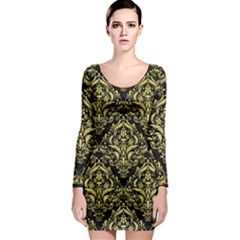 Damask1 Black Marble & Yellow Watercolor (r) Long Sleeve Bodycon Dress
