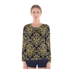 Damask1 Black Marble & Yellow Watercolor (r) Women s Long Sleeve Tee