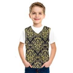 Damask1 Black Marble & Yellow Watercolor (r) Kids  Sportswear