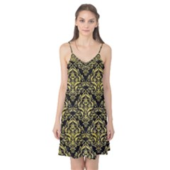 Damask1 Black Marble & Yellow Watercolor (r) Camis Nightgown