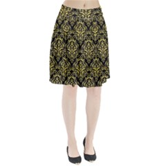 Damask1 Black Marble & Yellow Watercolor (r) Pleated Skirt