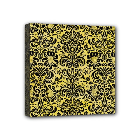 Damask2 Black Marble & Yellow Watercolor Mini Canvas 4  X 4