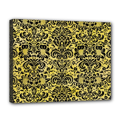 Damask2 Black Marble & Yellow Watercolor Canvas 14  X 11