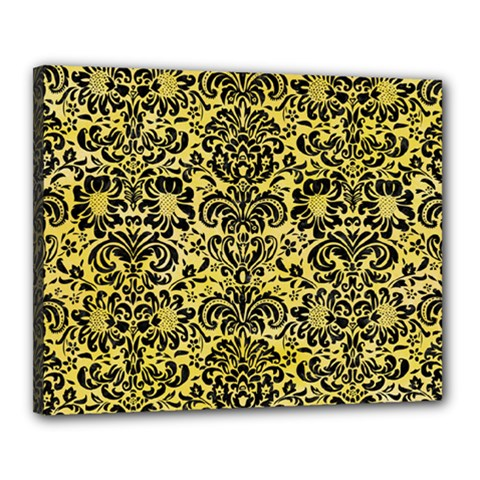Damask2 Black Marble & Yellow Watercolor Canvas 20  X 16