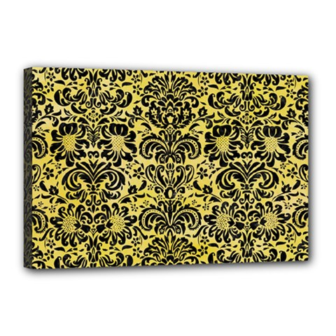 Damask2 Black Marble & Yellow Watercolor Canvas 18  X 12