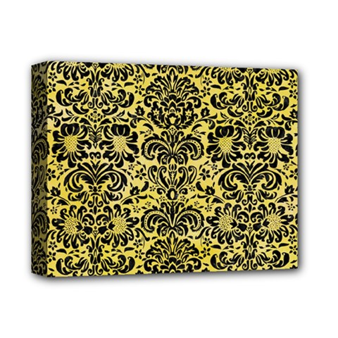 Damask2 Black Marble & Yellow Watercolor Deluxe Canvas 14  X 11