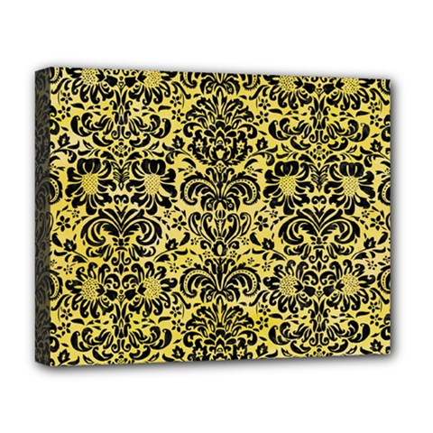 Damask2 Black Marble & Yellow Watercolor Deluxe Canvas 20  X 16