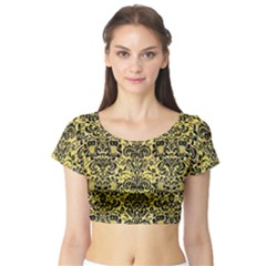 Damask2 Black Marble & Yellow Watercolor Short Sleeve Crop Top