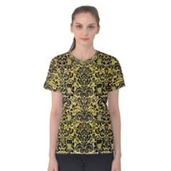 Damask2 Black Marble & Yellow Watercolor Women s Cotton Tee