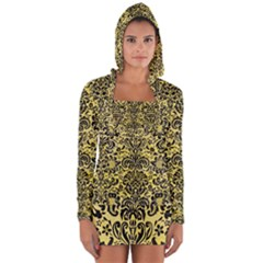 Damask2 Black Marble & Yellow Watercolor Long Sleeve Hooded T Shirt