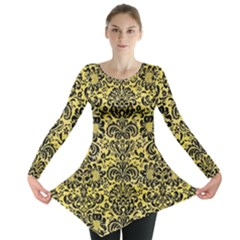 Damask2 Black Marble & Yellow Watercolor Long Sleeve Tunic