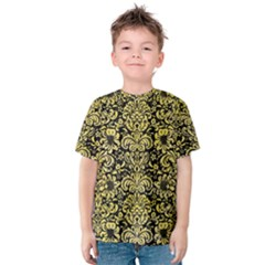 Damask2 Black Marble & Yellow Watercolor (r) Kids  Cotton Tee