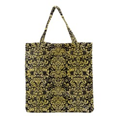 Damask2 Black Marble & Yellow Watercolor (r) Grocery Tote Bag