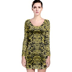 Damask2 Black Marble & Yellow Watercolor (r) Long Sleeve Bodycon Dress