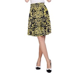 Damask2 Black Marble & Yellow Watercolor (r) A Line Skirt