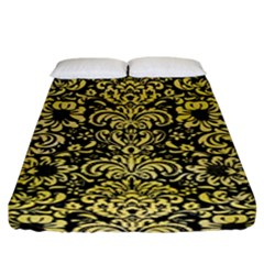 Damask2 Black Marble & Yellow Watercolor (r) Fitted Sheet (king Size)