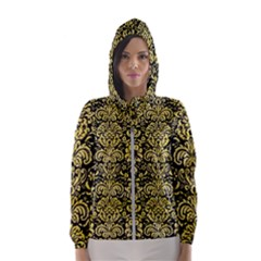 Damask2 Black Marble & Yellow Watercolor (r) Hooded Wind Breaker (women)
