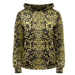 Damask2 Black Marble & Yellow Watercolor (r) Women s Pullover Hoodie