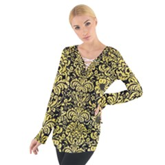Damask2 Black Marble & Yellow Watercolor (r) Tie Up Tee