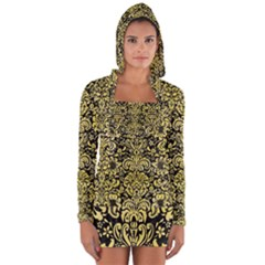 Damask2 Black Marble & Yellow Watercolor (r) Long Sleeve Hooded T Shirt