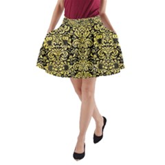 Damask2 Black Marble & Yellow Watercolor (r) A Line Pocket Skirt