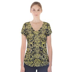 Damask2 Black Marble & Yellow Watercolor (r) Short Sleeve Front Detail Top