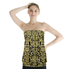 Damask2 Black Marble & Yellow Watercolor (r) Strapless Top