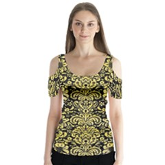 Damask2 Black Marble & Yellow Watercolor (r) Butterfly Sleeve Cutout Tee