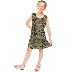 Damask2 Black Marble & Yellow Watercolor (r) Kids  Tunic Dress