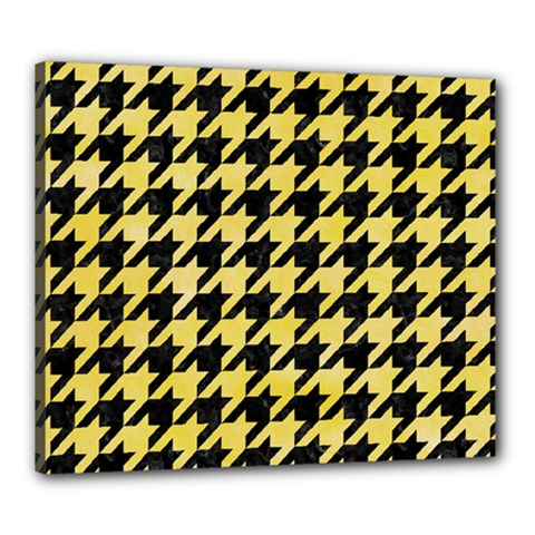 Houndstooth1 Black Marble & Yellow Watercolor Canvas 24  X 20
