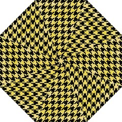 Houndstooth1 Black Marble & Yellow Watercolor Straight Umbrellas