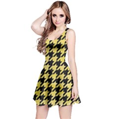 Houndstooth1 Black Marble & Yellow Watercolor Reversible Sleeveless Dress