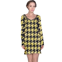 Houndstooth1 Black Marble & Yellow Watercolor Long Sleeve Nightdress