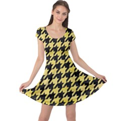 Houndstooth1 Black Marble & Yellow Watercolor Cap Sleeve Dress