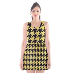 Houndstooth1 Black Marble & Yellow Watercolor Scoop Neck Skater Dress