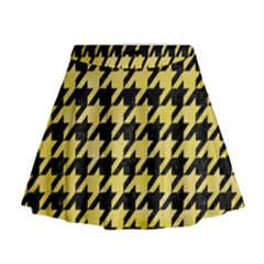 Houndstooth1 Black Marble & Yellow Watercolor Mini Flare Skirt