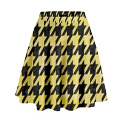 Houndstooth1 Black Marble & Yellow Watercolor High Waist Skirt