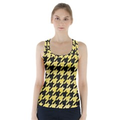 Houndstooth1 Black Marble & Yellow Watercolor Racer Back Sports Top