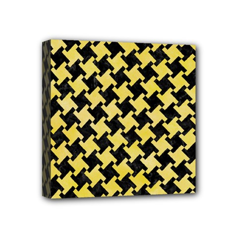 Houndstooth2 Black Marble & Yellow Watercolor Mini Canvas 4  X 4
