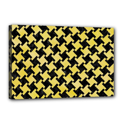 Houndstooth2 Black Marble & Yellow Watercolor Canvas 18  X 12