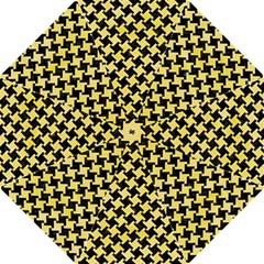 Houndstooth2 Black Marble & Yellow Watercolor Straight Umbrellas