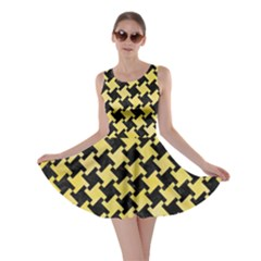 Houndstooth2 Black Marble & Yellow Watercolor Skater Dress