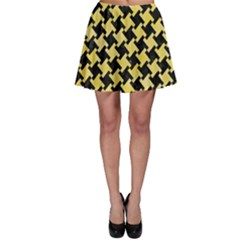 Houndstooth2 Black Marble & Yellow Watercolor Skater Skirt