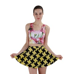 Houndstooth2 Black Marble & Yellow Watercolor Mini Skirt